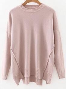 Pink Drop Shoulder Ribbed Hem Split Knitwear