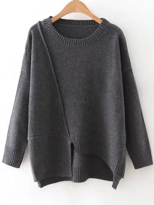 Dark Grey Round Neck Ribbed Trim Asymmetrical Sweater