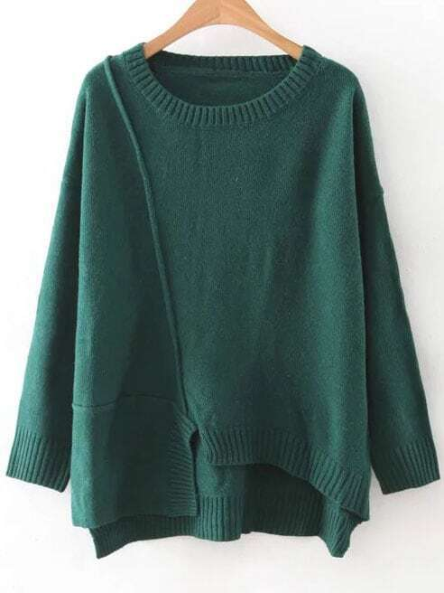 Green Round Neck Ribbed Trim Asymmetrical Sweater sweater160815226