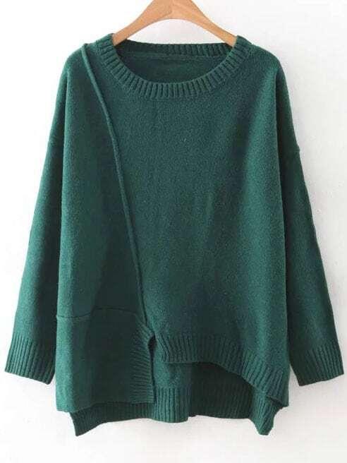 Green Round Neck Ribbed Trim Asymmetrical Sweater