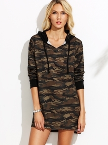 Camo Print High Low Hooded Sweatshirt Dress