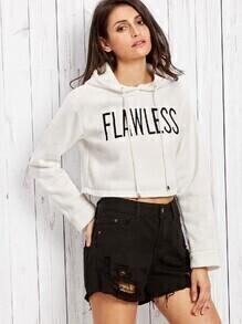 Sweat-shirt imprimé lettres avec capuche - blanc