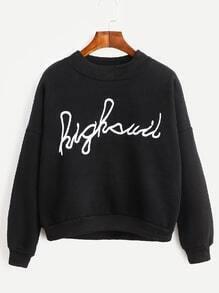 Black Drop Shoulder Letter Embroidered Sweatshirt
