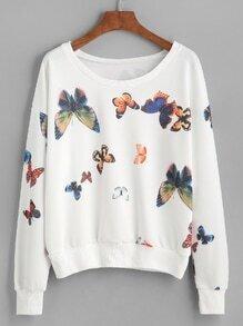Sudadera con hombro caído y estampado de mariposa - blanco