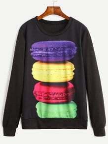Sweat-shirt imprimé macarons manche longue - noir