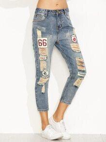 Jeans effet déchiré avec broderie - bleu