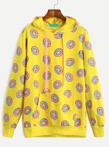 Yellow Donuts Print Pockets Drawstring Hooded Sweashirt