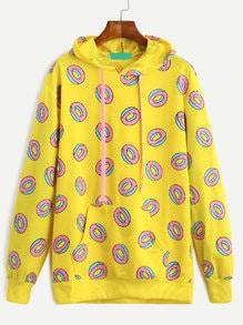 Sweat-shirt imprimé beignets en capuche avec poche - jaune