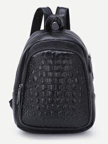 Black Leather Textured Zip Pockets Backpack
