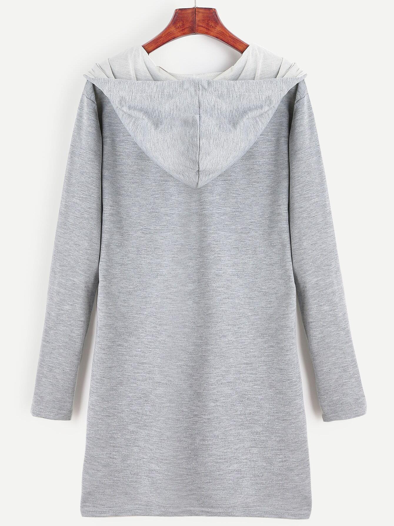 robe sweat shirt manche longue avec capuche gris french romwe. Black Bedroom Furniture Sets. Home Design Ideas