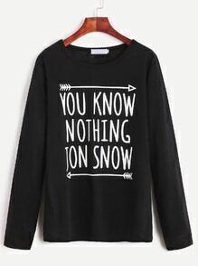 T-Shirt Langarm mit Buchstaben Druck - schwarz