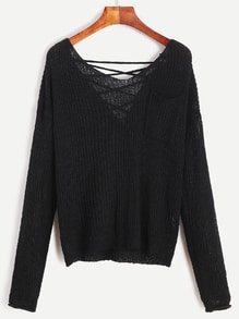 Black V Neck Criss Cross Back Pocket Sweater