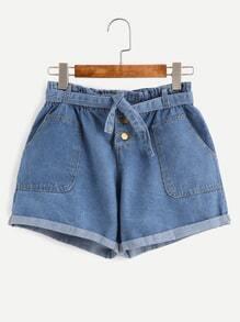 Blue Self Tie Rolled Hem Denim Shorts