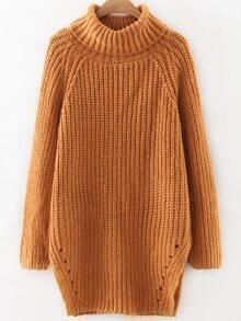 Khaki Roll Neck Raglan Sleeve Split Side Long Sweater