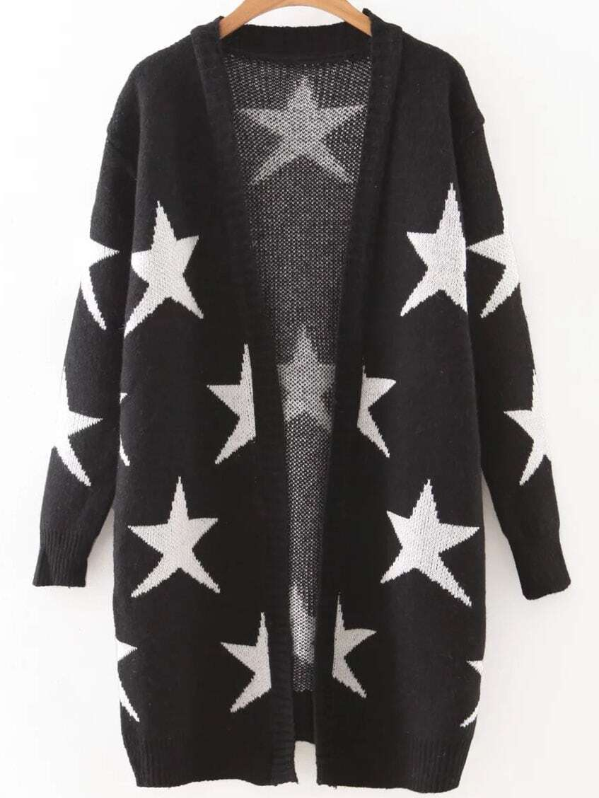 Black Collarless Ribbed Trim Star Cardigan sweater160816234
