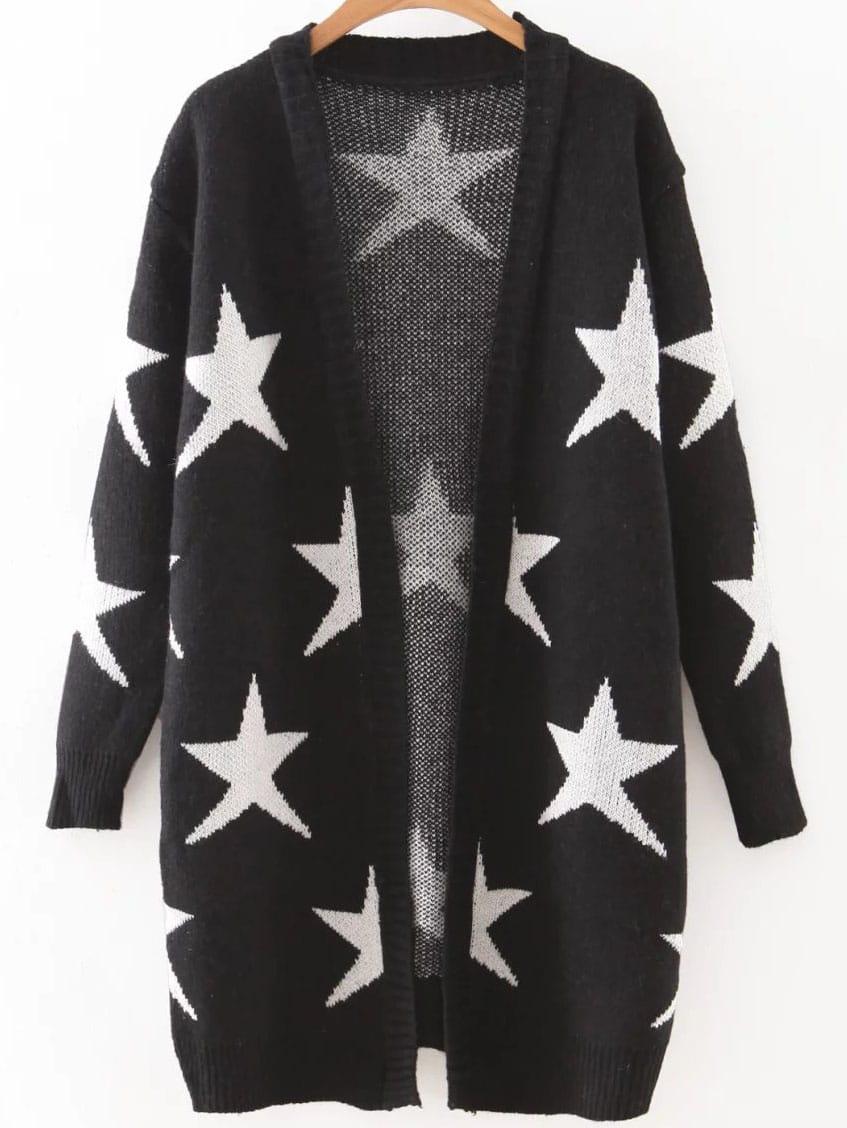 Black Collarless Ribbed Trim Star Cardigan