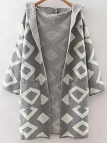 Grey Diamond Pattern Hooded Cardigan With Pockets