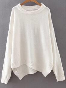 White Ribbed Trim Drop Shoulder Asymmetrical Knitwear