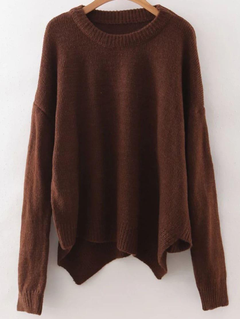 Brown Ribbed Trim Drop Shoulder Asymmetrical Knitwear sweater160816212