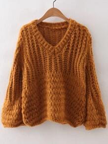 Khaki V Neck Loose Knit Sweater