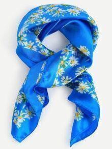 Blue Floral Print Square Scarf