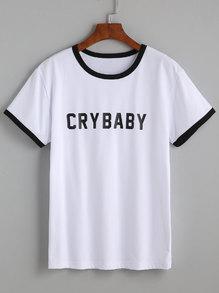 Camiseta escote redondo letras - blanco