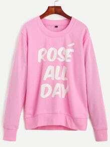 Sweat-shirt imprimé lettres col rond manche longue - rose