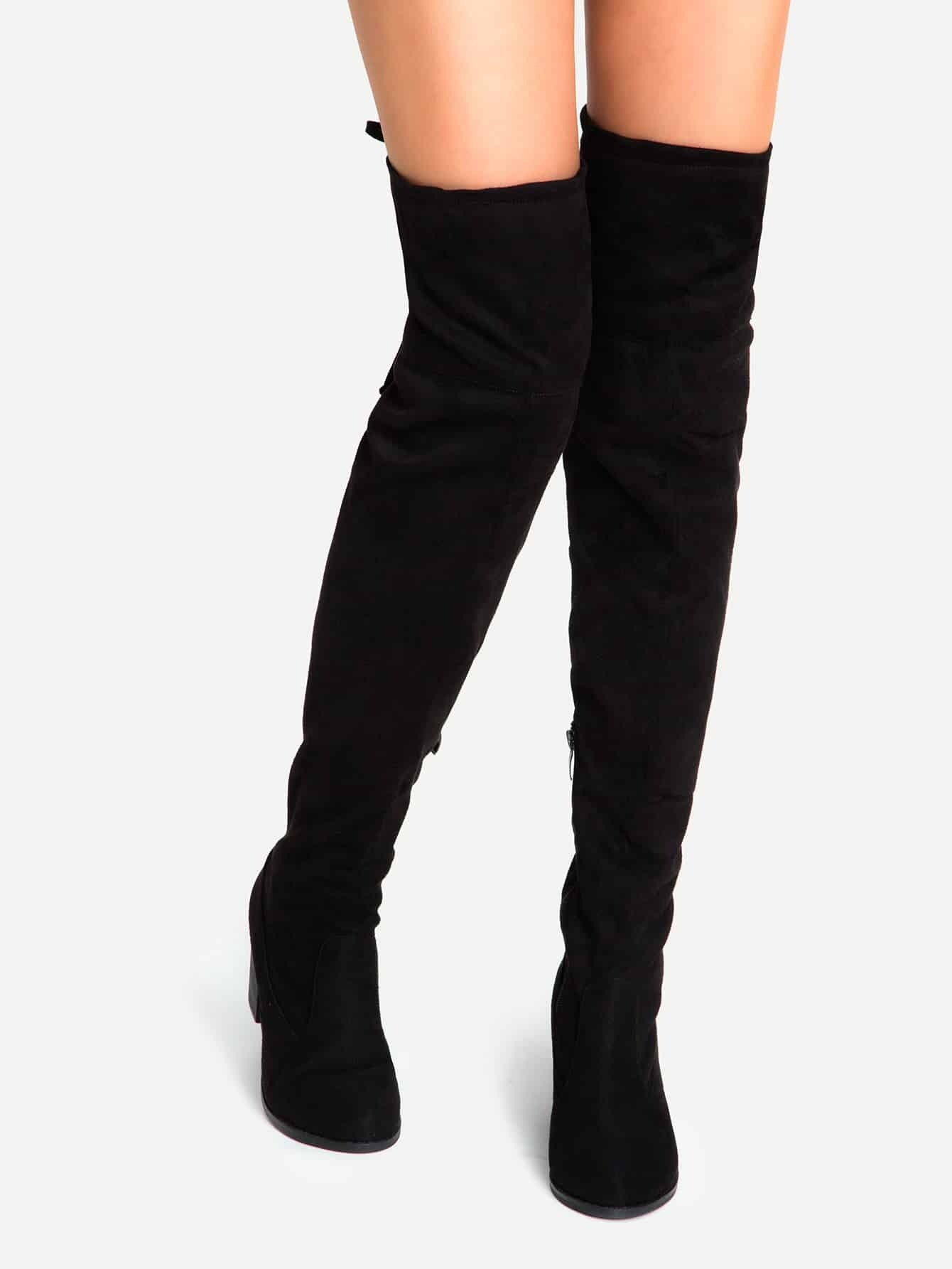 Black Suede Lace Up Over The Knee Boots
