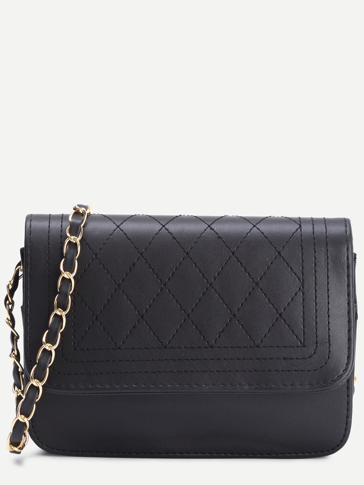 黑色 仿皮 絎縫 包蓋 鏈子/項鏈 手提包