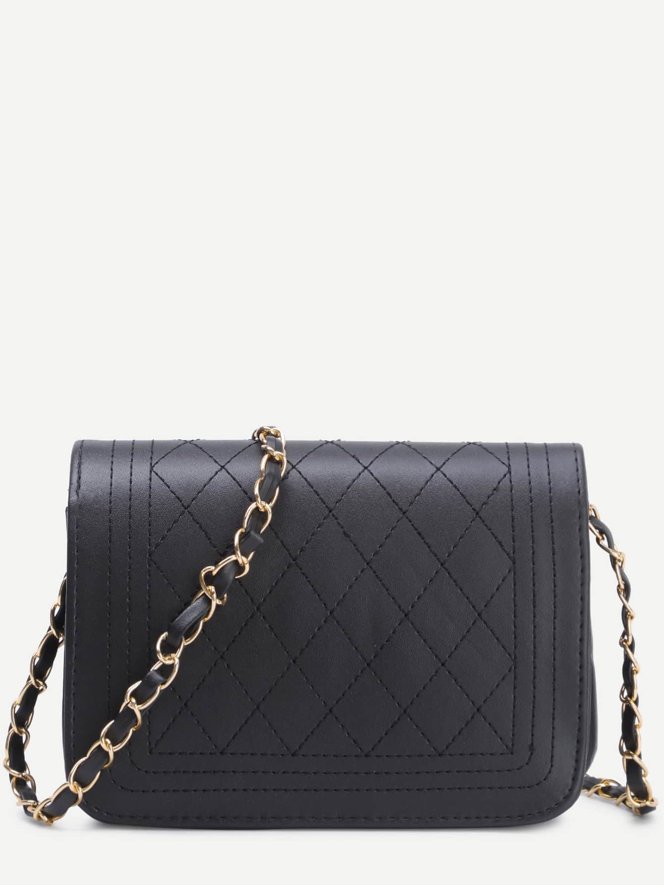 Black Faux Leather Quilted Flap Chain BagFor Women-romwe : leather quilted purse - Adamdwight.com