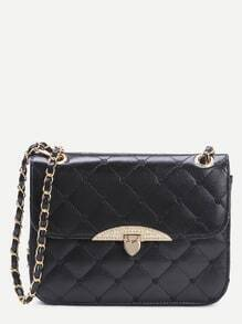 Black Faux Leather Quilted Flap Heart Shaped Lock Chain Bag