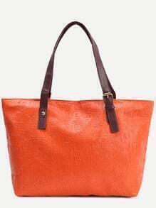 Orange Tribal Embossed Tote Bag