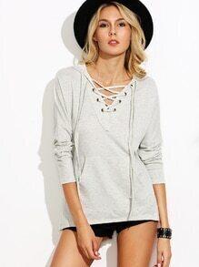 Grey Hooded Lace Up Drop Shoulder Pocket Sweatshirt