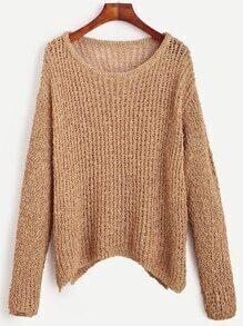 Khaki Drop Shoulder Chunky Knit Sweater