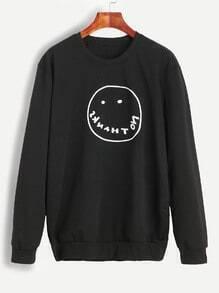 Sweat-shirt imprimé visage de rire manche longue - noir