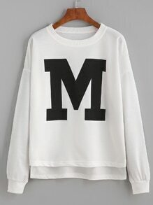 White Letter Print Drop Shoulder Dip Hem Sweatshirt