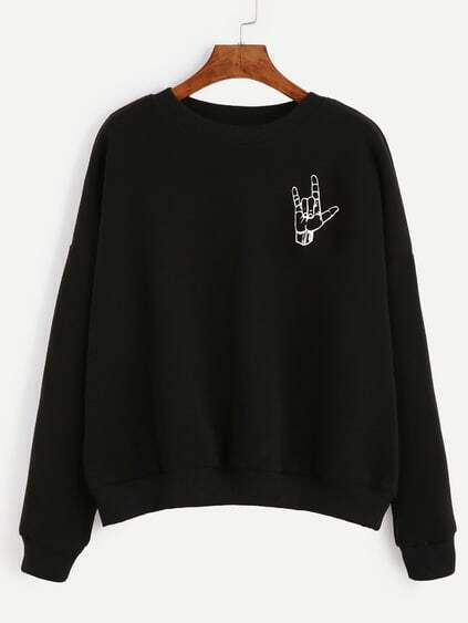 Black Gesture Print Drop Shoulder Sweatshirt