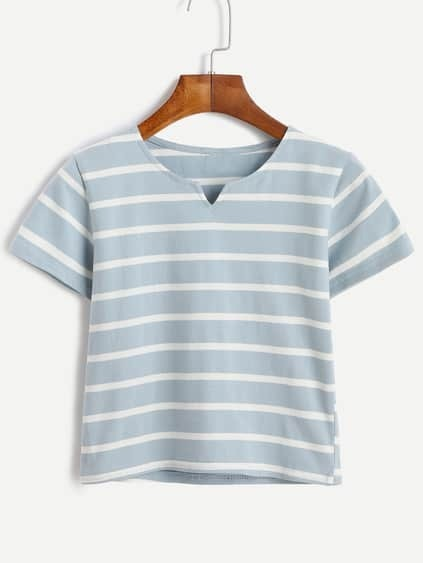 Blue Striped V Cut Crop T-shirt