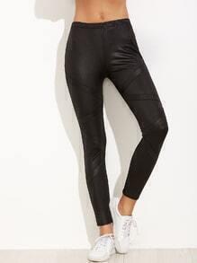 Black Contrast Elastic Waist Faux Leather Leggings