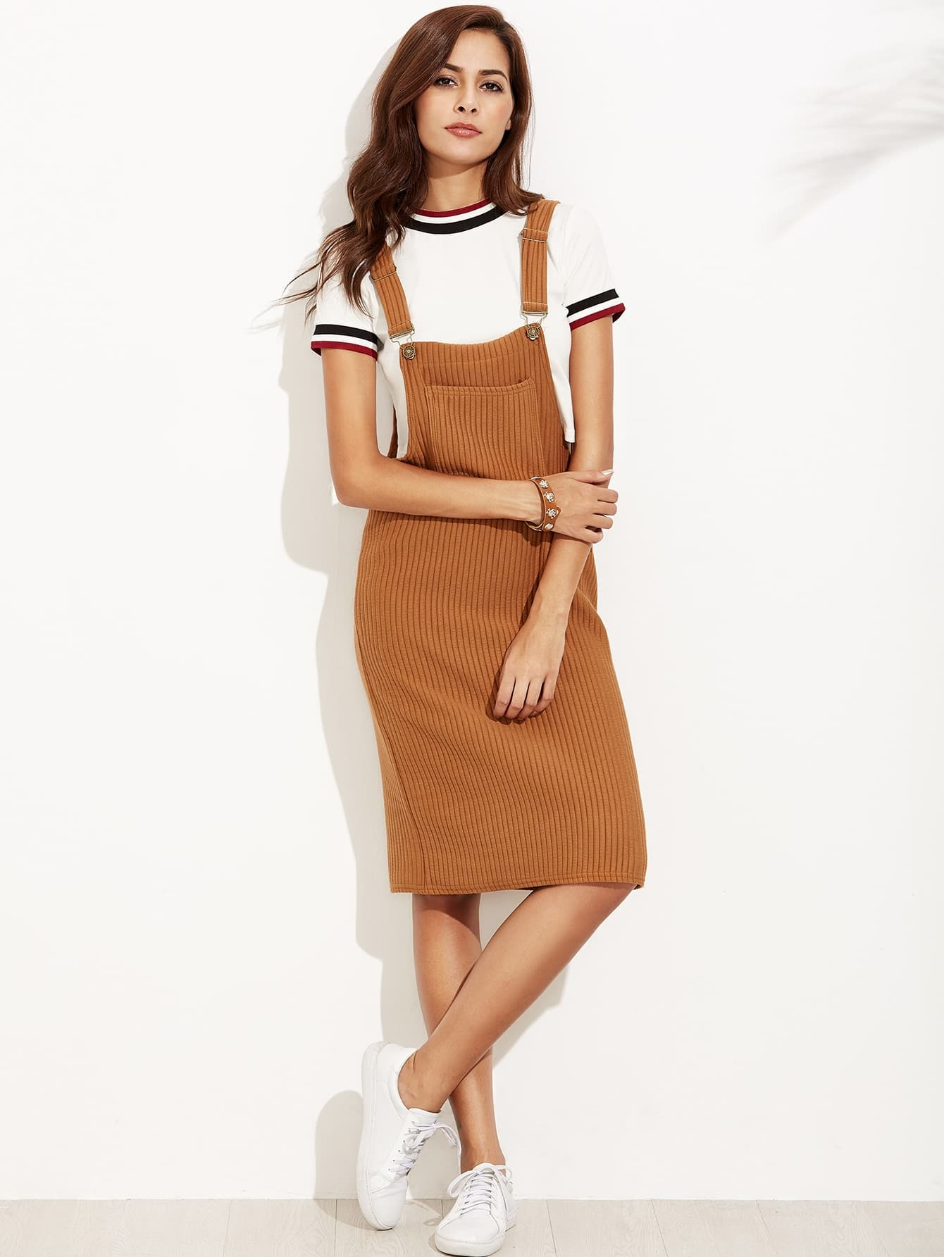 Khaki Ribbed Overall Dress With Pockets dress160817122