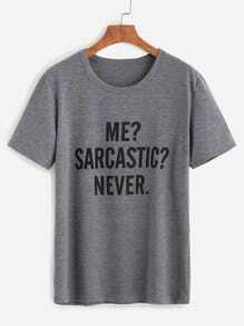 T-shirt imprimé lettres col rond manche courte - gris