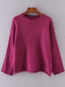Red Drop Shoulder Roll Hem Sweater