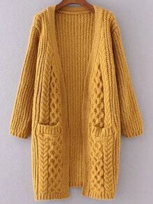 Yellow Collarless Cable Knit Pocket Sweater Coat