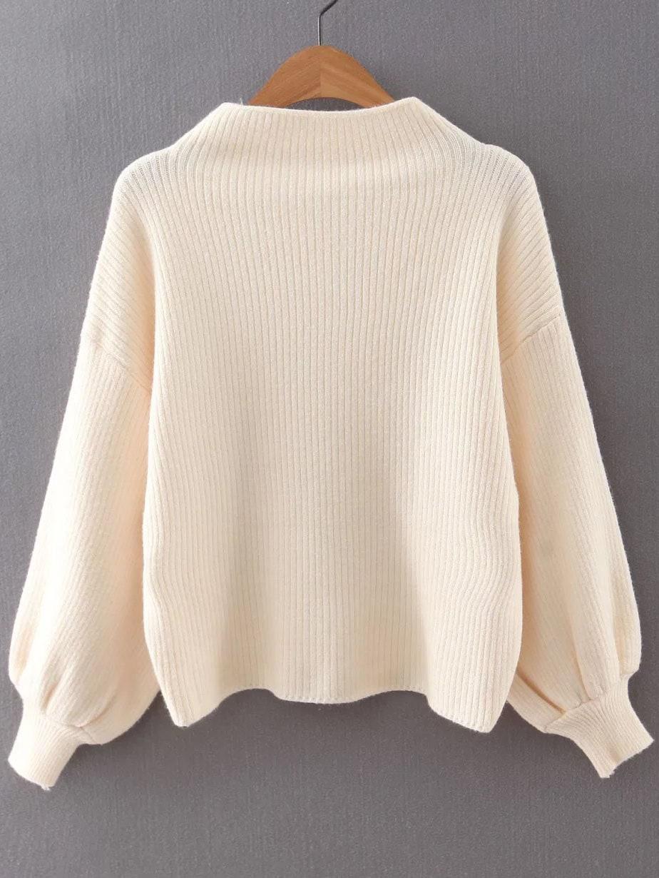 Beige Ribbed Lantern Sleeve Loose Knitwear sweater160817228