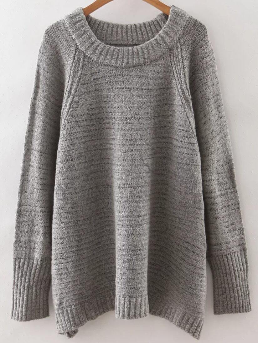 Grey Raglan Sleeve Ribbed Trim Sweater sweater160817238