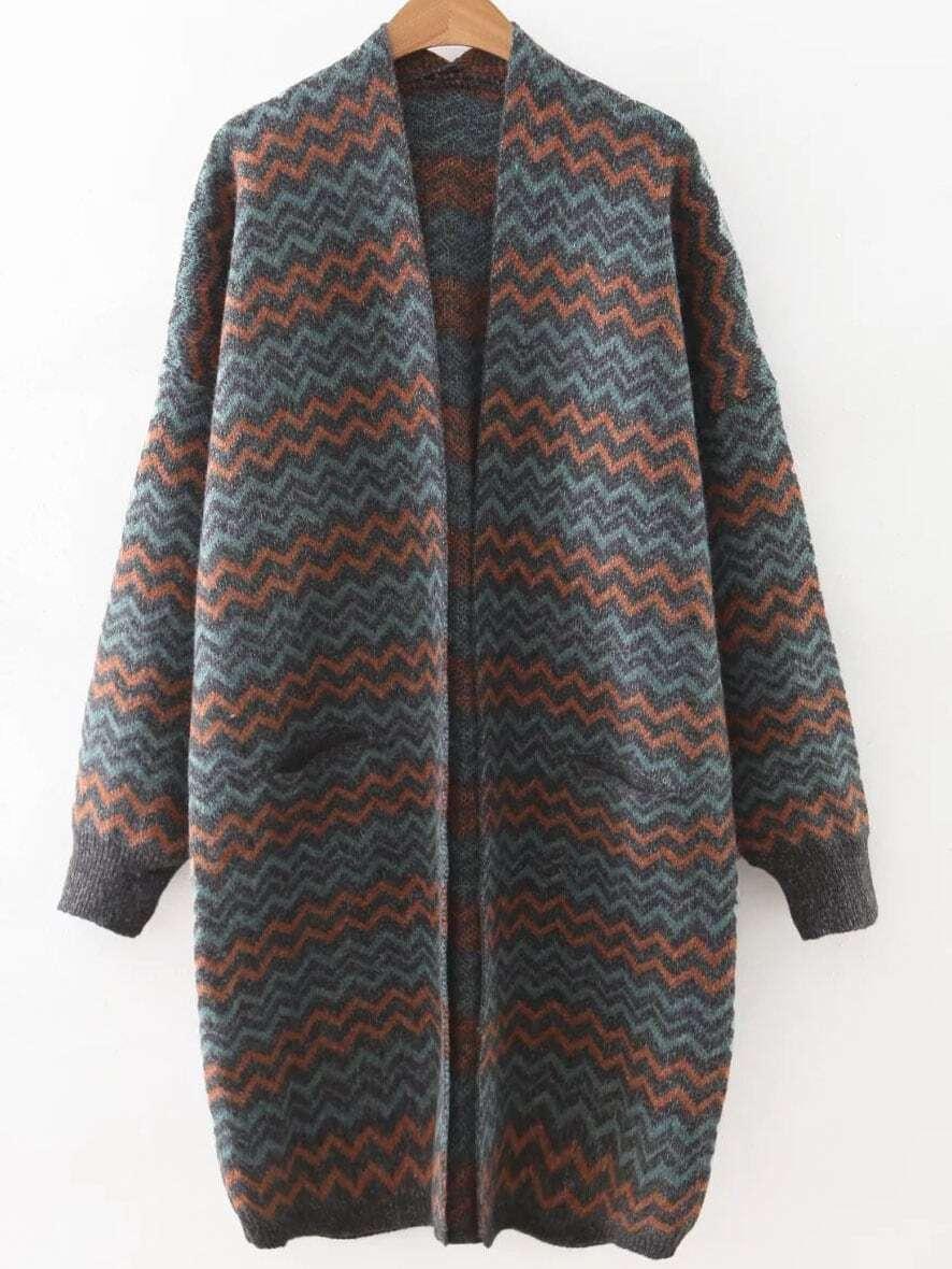 Grey Wave Print Collarless Pocket Long Cardigan sweater160817239