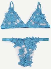 Blue Flower Applique Lace Triangle Bra Set
