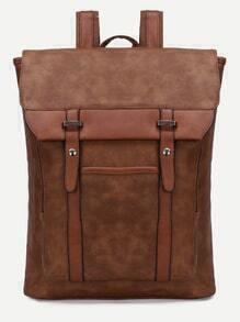 Brown Flap Buckle PU Backpack