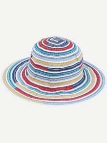 Multicolor Stripe Large Brimmed Beach Hat