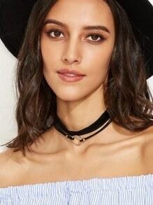 Collier ras-de-cou à la mode avec pendentif - noir